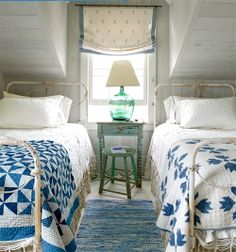 Matching Twin Iron Beds in Beach Side Cottage
