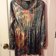 NWT - super cute long sleeve top Never worn multicolor long sleeve top in 100% Polyester, super soft and light, feels like velvet. New Directions Tops