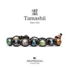 Tamashii - Bracciale originale tibetano realizzato con pietre naturali Agata Muschiata e legno orientale autentico con SIMBOLI MANTRA incisi a mano