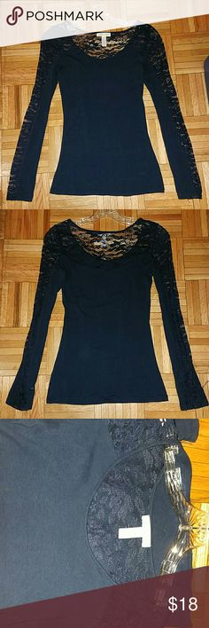 Navy Blue Lace Top Gently worn. - worn once! In excellent condition! Navy Blue Lace Shoulder and Half Lace Sleeves Ambiance Apparel Tops