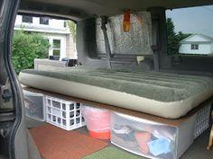 Loo fits under the bed. twokniveskatie: re-inventing the rondyvan Minivan Camping, Truck Camping, Camping Hacks, Camping Life, Camping Gear, Kangoo Camper, Suv Camper, Camper Van, Van Dwelling