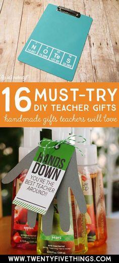 DIY teacher gift ideas that teachers will love. 16 handmade gifts for teachers, great for teacher appreciation week.