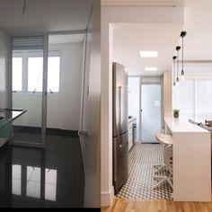 Antes e depois da cozinha - integramos com a sala para ganhar mais armários e dar mais amplitude ao apartamento #figueiredofischer