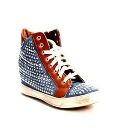 Blue Denim / Brown Leather Sneakers 20% OFF- Code PINTEREST20