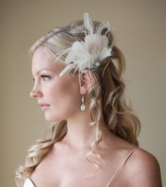 Champagne and Ivory Feather Fascinator