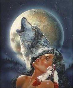 Indian maiden and spirit wolf.