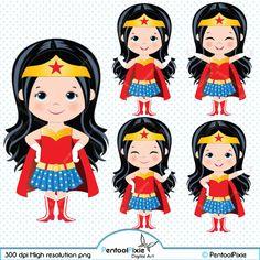 Wonder Woman clipart Superhero girls clipart Girl by PentoolPixie