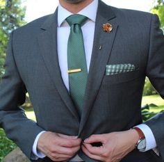 Grey suit, Blue Shirt, Green Tie, Green Gingham Pocket Square