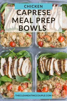 Healthy Chicken Caprese Quinoa Meal Prep Bowls are a delicious clean eating meal for lunch or dinner. Naturally gluten free, hearty and easy to make, these are perfect to take to the office or for a quick meal on the go! #mealprep #lunchtime #healthy