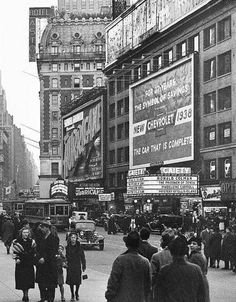 New York City, 1938 The Gaiety Theatre at 1547 Broadway. It was torn down in It is now a bike shop New York Pictures, Old Pictures, Old Photos, Vintage Photos, New York City, New York Street, Vintage New York, Nyc, Cities