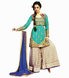 Elegant Green and Royal Blue with Patiala Salwar