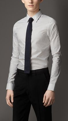 Burberry London Cerulean blue Slim Fit Polka Dot Cotton Shirt - A slim fit shirt in a polka dot pattern. Tailored for a slim fit, the shirt features a point collar and single button cuffs. Discover men's tailoring at Burberry.com