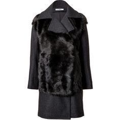Jil Sander Fur Panel Coat (21.161.605 IDR) ❤ liked on Polyvore featuring outerwear, coats, fur, jackets, grey, fur coat, jil sander, gray cocoon coat, long sleeve coat and cocoon coat