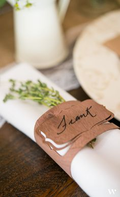 This is a 2 in one product! Napkin holders and table seating place cards. Your rustic wedding will be well on its way with this great trick.