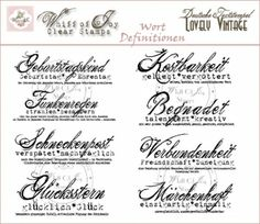 Word Definitions - German Text Collection (set of 8) - Clear Stamps