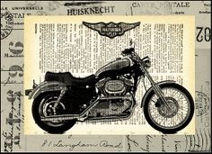 Harley Davidson Motorcycle Illustration Gift Collage by rcolo, $10.00