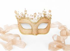 Light Pink Nude & Gold Masquerade Mask Shimmering by SOFFITTA