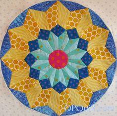 Circles Block #8--English Paper Piecing.  Free pattern on opquilt.com