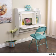 Floating Desk with Storage - 14790332 - Overstock - Great Deals on Prepac Desks - Mobile
