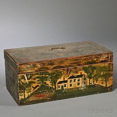 """Painted Storage Box, America, century, the inside inscribed in pencil """"Marion Augusta Packard/December Grandpa,"""" ht. Painted Trunk, Painted Chest, Painted Boxes, Wooden Boxes, Hand Painted, Old Boxes, Antique Boxes, Antique Trunks, Antique Furniture"""