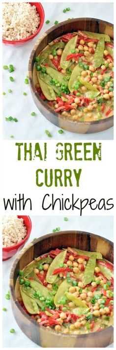 Make this Green Curry with Chickpeas tonight for an easy dinner idea.  Lots of protein and fiber in this healthy dish!  Vegan and gluten free!