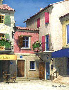 French Village Scene - Provence by Jayne Wilson City Landscape, Urban Landscape, Village Photography, Iron Balcony, Pastel House, French Street, Desert Homes, Stone Houses, Urban Sketching