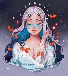 Galaxies for Qinni by Jyundee on DeviantArt Art And Illustration, Art Drawings Sketches, Cute Drawings, Pretty Art, Cute Art, Qinni, Cartoon Kunst, Zodiac Art, Digital Art Girl