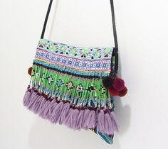 Bohemian Beach HMONG Embroidered Tribal Beaded Fringe Shoulder Bag #HMONG #TheBohemianBeachCompany #GiftIdeas #Handbags #Beachbags  www.thebohemianbeachcompany.com Bohemian Beach, Shoulder Bag, Handbags, Unique, Totes, Shoulder Bags, Purse, Hand Bags, Women's Handbags