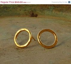 ON SALE Gold hoop studs earrings Round hammered gold by anakim, $42.50