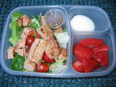 Grilled Chicken Salad + Cherry Tomatoes + Hard Boiled Egg + Strawberries #Homemade #BentoBoxes #BentoBox #Lunch #KidFoods