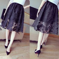 Fashion Women Summer Floral Print Skirt Double Layers Lace Elastic Waist Knee-Length Skirts