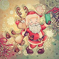 Santa Selfie - $2.40 : Digital Stamps, Scrapbooking, Crafts, Artisan Resources, cardMaking, Paper Crafts, Digital Crafting by The Paper Shelter