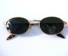 Vintage RAYBAN Oval Steampunk Sunglasses OVAS W2840 in Matte Gold Dark Green Lenses Tortoiseshell Arms Explorer Glacier Glasses Near New