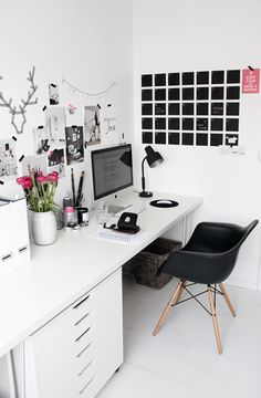 Black and white workspace. Love that calendar.