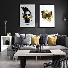 Happy Easter, everyone . Posters by www.peopleoftomorrow.no // «Yellow Mohawk» | «Yellow Butterfly» 61x91 cm _ #posters #wallart #yellow #colorpop #easter #easterdecoration #interior #nordicinterior #scandinavianinterior #whiteinterior #darkinteriors #boligplussminstil #abito #rom123 #art #artprint #artwork #graphicart #graphicdesign #interieur #interiør