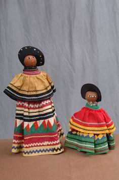 Palmetto dolls, ca. 1940-1950s. Palmetto fiber became the primary material used to make dolls by the 1940s, but its earliest use dates to around 1918. Dolls such as these were often purchased by tourists from Seminole women. (Collections of the Museum of Florida History)