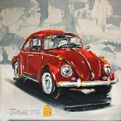 Red beetle Oil impasto on board  By Juanette Menderoi