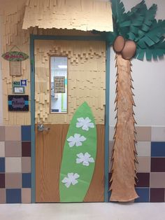 "To match our ""Around the World"" theme, my classroom door was inspired by tiki-huts, surf shops, and the beach! The overhead structure was made from cardboard and covered with strips of manila paper! Preschool Classroom Themes, Disney Classroom, 3rd Grade Classroom, Classroom Door, Classroom Setup, Kindergarten Activities, Future Classroom, School Hall, School Doors"