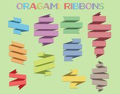 Origami Ribbon Clip Art, 10 Item Ribbons Clipart Set, Graphic Design Elements, Digital Download, PNG Transparent Background, Scrapbooking