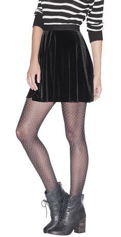 Velvet skirt + polka dot tights