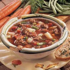 Savory Winter Soup - Make this last night with 1 pound of meat - Everyone loved it and so so easy to make!!!!!