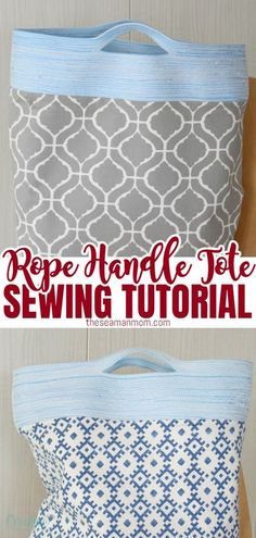 This contains: REVERSIBLE TOTE BAG TUTORIAL - Make a practical and pretty reversible tote bag that will soon become your favorite with this easy rope handle tote bag tutorial. Great project for beginners and a wonderful gift for friends and family!