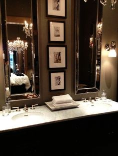 swap out 1 large mirror for 2 tall - love the little picture in the interior design 2012 house design designs designs home design Bad Inspiration, Bathroom Inspiration, Skinny Mirror, Restoration Hardware Store, Home Interior Design, Interior Decorating, Decorating Ideas, Luxury Interior, Decorating Websites