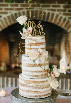 The simplicity and minimal decoration make the layers shine - not a fan of the cake topper (the font is too trendy) Winter Naked Wedding Cake Inspiration. Wedding Cake Rustic, Unique Wedding Cakes, Unique Weddings, Our Wedding, Dream Wedding, Seminaked Wedding Cake, Trendy Wedding, Wedding Ideas, Orchid Wedding Cake