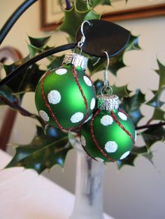Christmas Earrings Green Christmas Bulb Earrings by SmithNJewels, $13.00