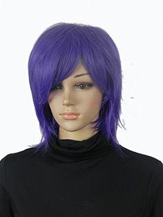 Diy Women's Cosplay Party Kanekalon Fiber Short Straight… Purple Wig, Wigs, Cosplay, Hair, Beauty, Fiber, Lace Front Wigs, Strengthen Hair