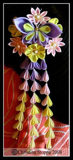 Spring Butterfly Kanzashi by Kurokami-Kanzashi on DeviantArt Ribbon Art, Ribbon Crafts, Flower Crafts, Ribbon Bows, Fabric Crafts, Ribbons, Satin Flowers, Diy Flowers, Fabric Flowers