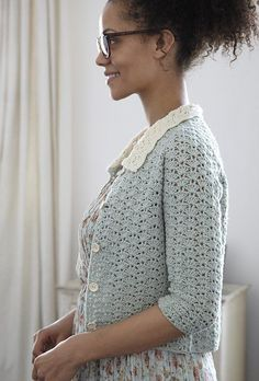 Nicki Trench's #crochet cardigan in Geek Chic Crochet is memorable for its Peter Pan Collar