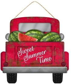 Browse our Sweet Summer Time Sign, as well as other Seasonal Signs, Wall, Door Decor at Trendy Tree. Watermelon Decor, Green Watermelon, Watermelon Carving, Decoration Bedroom, Decoration Table, Red Truck Decor, Vintage Porch, Truck Signs, Farm Trucks