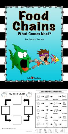 $ FANTASTIC!! This packet includes: • One empty food chain for the students to complete, One activity sheet for students to cut out pictures of missing items in food chains and glue them in the correct place., One activity sheet for completing the food chain of the student's favorite animal and answering questions about carnivores, omnivores, and herbivores, One full colored example of a food chain Found at:  http://www.teacherspayteachers.com/Store/Helps4teachers